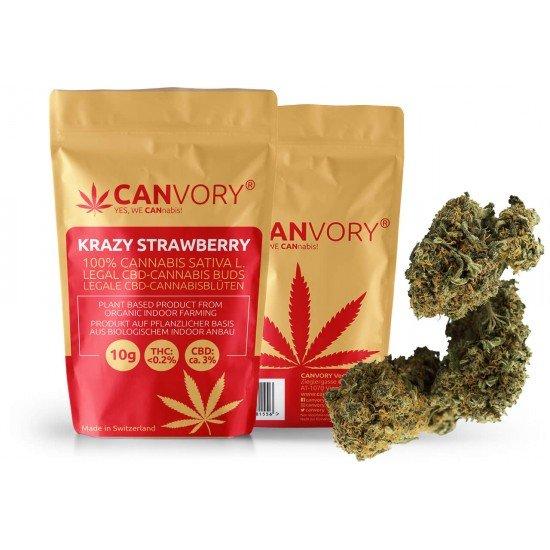Krazy Strawberry - 3% CBD Cannabidiol Cannabis Buds, 2 gram